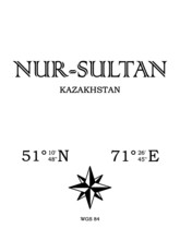 Nur-Sultan, Kazakhstan - Inscription With The Name Of The City, Country And The Geographical Coordinates Of The City. Compass Icon. Black And White Concept, For A Poster, Background, Card, Textiles