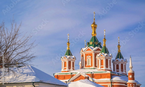 Fotografiet Roofs, domes and crosses of the winter old Kolomna