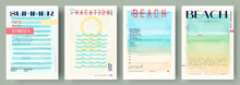 Watercolor Abstract Backgrounds, Vector , Beach, Sunset, Sea. Event Poster , Invitation Card .Set Of Creative Minimalist Hand Painted Illustrations For Wall Decoration. Pastel Colors.