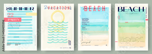 Fototapeta Watercolor abstract backgrounds, vector , beach, sunset, sea. Event poster , invitation card .Set of creative minimalist hand painted illustrations for wall decoration. Pastel colors. obraz