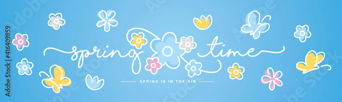 Hello Spring time handwritten typography lettering text spring is in the air line design colorful flowers butterflies tulips draw blue background banner - fototapety na wymiar