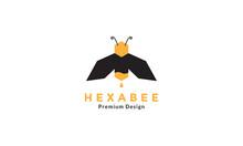 Geometric Hexagon Bee Honey Modern Flat Logo Design Vector Icon Symbol Illustration