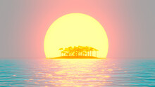 A Tropical Desert Island With Palm Trees In Ocean On Background Of Sunset. 3d Rendering.