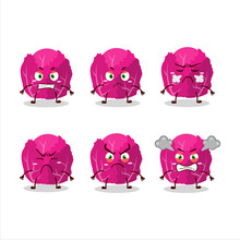 Red Cabbage Cartoon Character With Various Angry Expressions