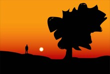 Alone Man On Hill With Big Lone Tree At Evening. Vector Landscape Design. Tree And Man Silhouette Vector Design For Cover Design, Social Media Post And Website Cover.