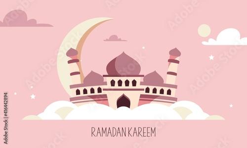 Fotografia Flat design ramadan kareem lettering. Mosque logo