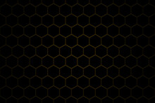 Honeycomb Or Beehive Grid Cell Random Color Of Gold Or Golden Or Honey Or Yellow Color Tone For Background Or Hexagonal Cell Texture.