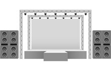 White Stage And Speaker With Spotlight On The Truss System On The White Background