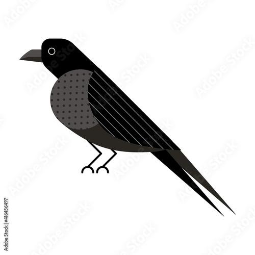 Fototapeta premium Raven or Crow Bird Icon in Flat Design