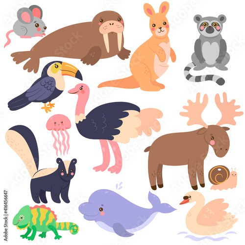 Fototapeta premium Set of cute animals in cartoon style isolated on white background. Vector graphics.