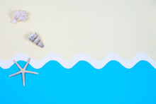White Blue Paper With Curly Waves And Sea Shells, Summer Vacation Background, Horizontal, Copy Space