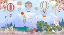 Children's Wallpaper, Animals On Balloons