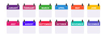 Monthly Calendar Icon Set. For Each Month, An Icon In Its Own Color. Flat Vector Illustration Isolated On White.