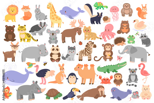 Fototapeta premium Big set of cute animals in cartoon style isolated on white background. Vector graphics.
