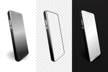 Set Of Smartphone Display Screen In The Rotated Position On Different Backgrounds.Illustration Vector