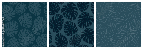 Set of Seamless exotic pattern with tropical leaves monstera. Botanical fashionable template for design. Minimal design and natural colors. Modern abstraction for paper, cover, fabric, decor - fototapety na wymiar