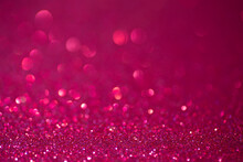 Glitter Pink Background.  Red And Pink Background With Sparkling Festive Glitter