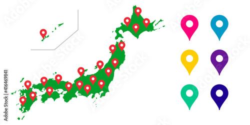Fototapeta 日本地図, 日本全国, 日本, 地図, 全国, マップのベクターアイコンイラスト素材 obraz