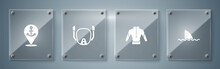 Set Shark Fin In Ocean Wave, Wetsuit, Diving Mask And Location With Anchor. Square Glass Panels. Vector.