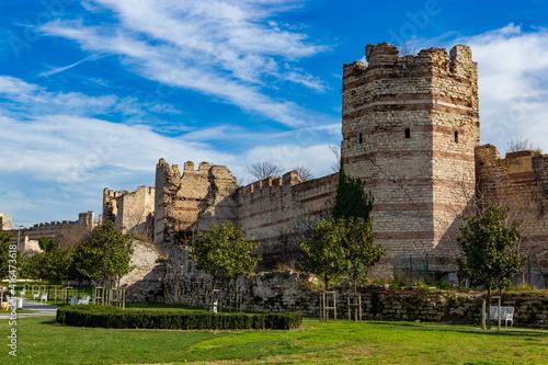 Fotografering View of Yedikule Fortress in Istanbul, Turkey