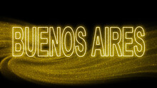 Buenos Aires Gold Glitter Lettering, Buenos Aires Tourism And Travel, Creative Typography Text Banner