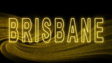 Brisbane Gold Glitter Lettering, Brisbane Tourism And Travel, Creative Typography Text Banner