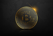 Golden Bitcoin Blockchain Technology Concept Suitable For Future Technology Banner Or Or Cover. Vector Illustration