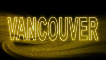 Vancouver Gold Glitter Lettering, Vancouver Tourism And Travel, Creative Typography Text Banner