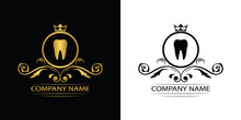 Dentist Logo Template Luxury Royal Vector Tooth Company Decorative Emblem With Crown