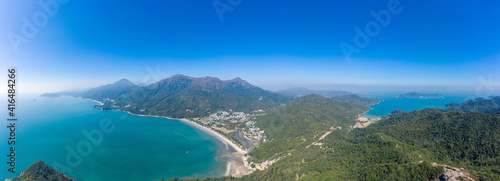 Amazing aerial view of mountain and beach, near Pui O, Lantau Island, Hong Kong