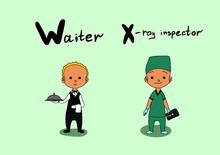 Cute Vector Alphabet Profession. Letter W - Waiter. Letter X - X-ray Inspector