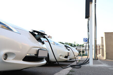 Charging Modern Electric Cars From Station Outdoors