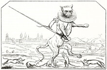Ancient Dressed Cat With Long Sword  Fighting Against Mouses. Reproduction Of 17th Century Caricature Illustration Depicting The Prise D'Arras (The Taking Of Arras). By Unidentified Author, 1838