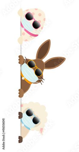 Osterei, Osterhase & Schaf Maske Sonnenbrille Banner Vertikal © Jan Engel