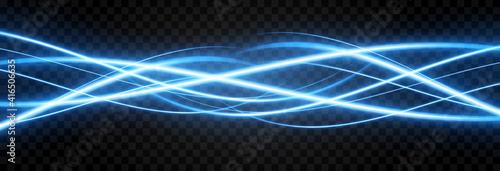 Fototapeta Vector glowing light lines