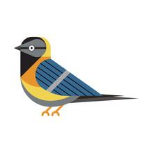 Blue Tit Bird Icon In Flat Style