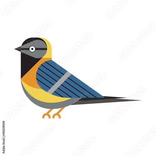Stampa su Tela Blue Tit Bird Icon in Flat Style