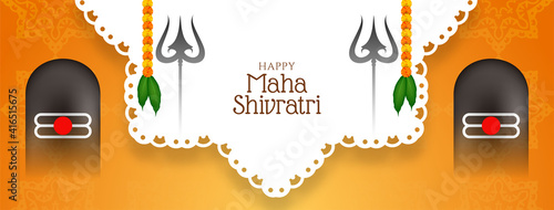 Obraz Beautiful Maha shivratri traditional festival banner design - fototapety do salonu
