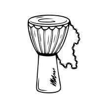 Hand Drawn Djembe Drum, Musical Instruments Isolated On A White Background. Celebration Elements. Doodle, Simple Outline Illustration. It Can Be Used For Decoration Of Textile, Paper.