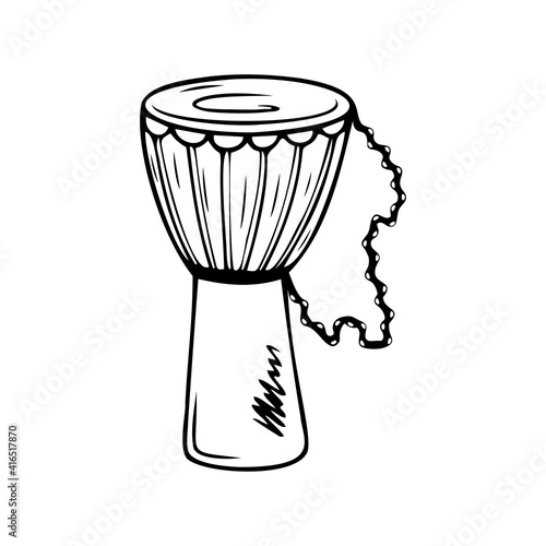 Tablou Canvas Hand drawn djembe drum, musical instruments isolated on a white background