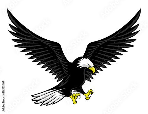 Fototapeta Flying bald eagle icon isolated on white background.