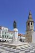 Saint John the Baptist Church, Gualdim Pais statue on Republic square, Tomar, Santarem district, Portugal