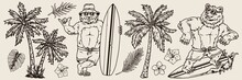 Vintage Monochrome Surfing Elements Concept