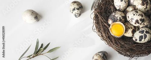 Fotografia Quail eggs in bird nest on white background with shadow