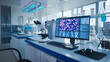 canvas print picture Modern Medical Research Laboratory. Scientific Lab, Drug Engineering Center Full of High-Tech Equipment, Computer Screen Showing DNA concept, Technology for Vaccine Development.