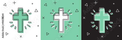Carta da parati Set Christian cross icon isolated on white and green, black background