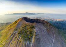 Aerial View Of Vesuvius Crater And Gulf Of Naples At Sunrise, Naples, Campania, Italy, Europe
