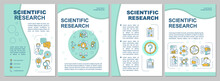 Scientific Research Brochure Template. Search For New Technologies. Flyer, Booklet, Leaflet Print, Cover Design With Linear Icons. Vector Layouts For Magazines, Annual Reports, Advertising Posters