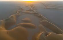 Aerials Of Sand Dunes At Sunset, Dirkou, Djado Plateau, Sahara, Niger, Africa