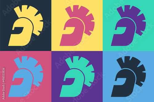 Fotografie, Obraz Pop art Greek helmet icon isolated on color background